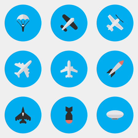 Vector Illustration Set Of Simple Aircraft Icons. Elements Rocket, Craft, Bomb And Other Synonyms Dynamite, Aircraft And Rocket.