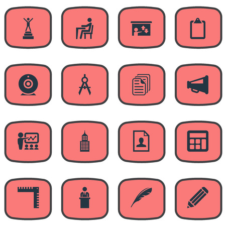 Elements Calligraphy, Employee, Online Conference And Other Synonyms Academy, Drawing And Documents.  Vector Illustration Set Of Simple Training Icons. Ilustração