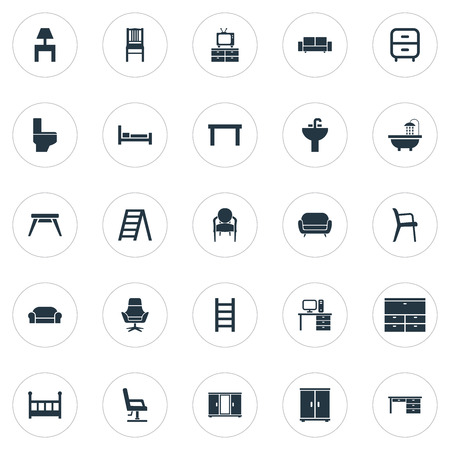 Vector Illustration Set Of Simple Furniture Icons. Elements Lounge, Tap, Crib And Other Synonyms Chest, Toilet And Design.