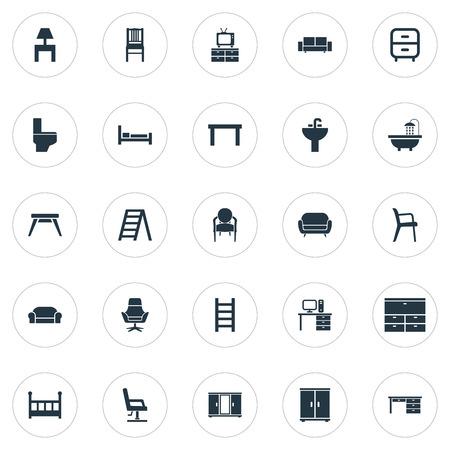 Vectorillustratiereeks Eenvoudige Meubilairpictogrammen. Elements Lounge, Tap, Crib And Other Synoniemen Chest, Toilet And Design.