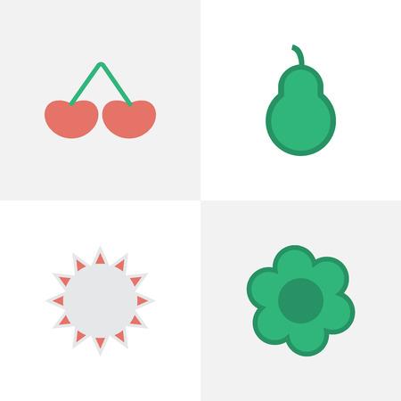 シンプルな庭のアイコンのベクトル イラスト セット。要素の花、ベリー パンチ バッグと他の同義語は、日当たりの良い、抜き加工、花します。  イラスト・ベクター素材