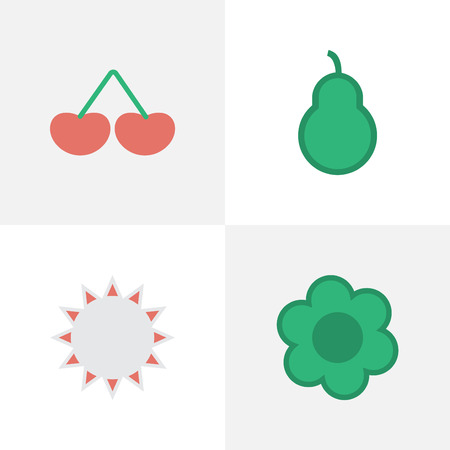 Vector Illustration Set Of Simple Garden Icons. Elements Flower, Berry, Punching Bag And Other Synonyms Sunny, Punching And Flower. 向量圖像