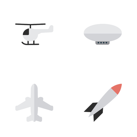 Elements Copter, Balloons, Bomb And Other Synonyms Copter, Airship And Balloons.  Vector Illustration Set Of Simple Airplane Icons.