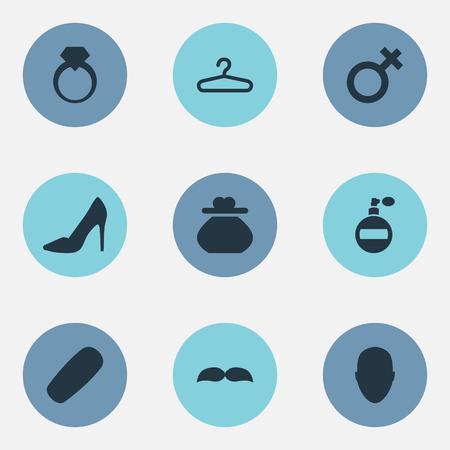 要素の眼鏡ボックス、男、宝石や他の同義語サングラス、ハンガーと女性。 シンプルなファッションアイコンのベクトルイラストセット。