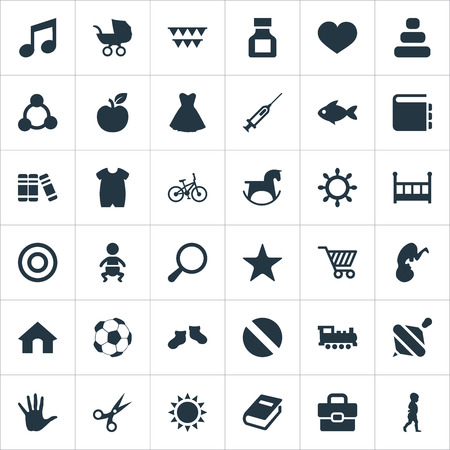 Elementen Boekwinkel, woordenboek, huis en andere synoniemenfruit, spuit en portfolio. Vector illustratie Set van eenvoudige baby pictogrammen.
