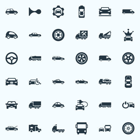 Elements Coupe, Suv, Auto And Other Synonyms Pumping, Service And Carriage.  Vector Illustration Set Of Simple Auto Icons.