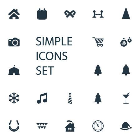 シンプルな新年のアイコンのベクトルイラストセット  イラスト・ベクター素材