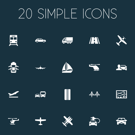 Vector Illustration Set Of Simple Transport Icons. Elements Electric Vehicle, Aeration, Jet And Other Synonyms Suspension, Whirlybird And Metro.
