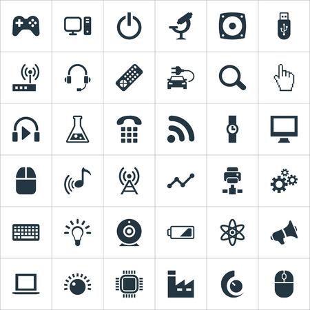 要素放送、ボリュームコントロール、歯車と他の同義語ボタン、無線 Lan とポインタ。 シンプルな技術アイコンのベクトルイラストセット。  イラスト・ベクター素材