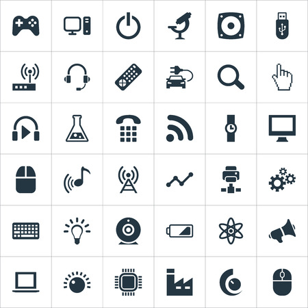 Elements Broadcast, Volume Control, Cogwheel And Other Synonyms Button, Wifi And Pointer.  Vector Illustration Set Of Simple Technology Icons. Ilustração