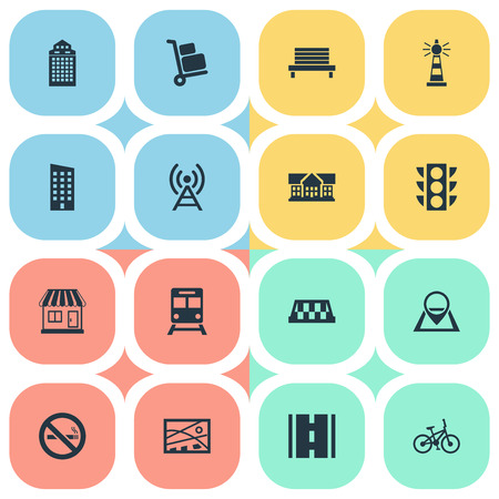 Vector Illustration Set Of Simple Urban Icons. Elements Navigation, Pin, Bike And Other Synonyms Home, Kiosk And Bench.