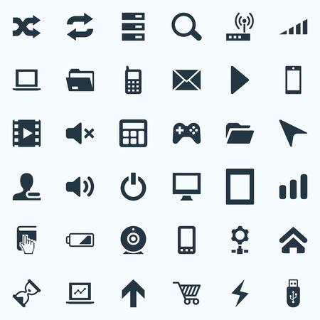Vector Illustration Set Of Simple Computer Icons. Elements Home, Broadcast, Web Trading And Other Synonyms Sandglass, Mobile And Magnifier.