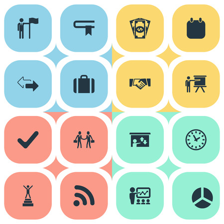 Vector Illustration Set Of Simple Plan Icons. Elements Accomplishmeent, Success, Check Mark And Other Synonyms Leader, Diagram And Holding.