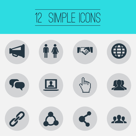 Vector Illustration Set Of Simple Media Icons. Elements Chain, World, Team And Other Synonyms Earth, Social And Publish.