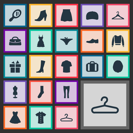シンプルなドレスアイコンのベクトルイラストセット。要素が存在する、財布、メイクアップガラスや他の同義語のドレス、旅行、ハーフホース。  イラスト・ベクター素材