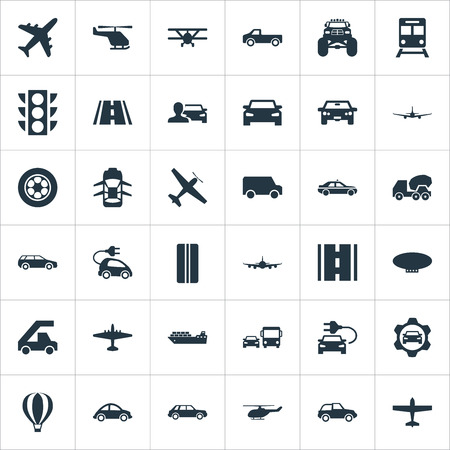 Vector Illustration Set Of Simple Transportation Icons. Elements Hybrid Auto, Plane, Van And Other Synonyms Metro, Convertible And Stoplight.