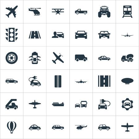 Vektor-Illustration Satz einfache Transport-Ikonen. Elemente Hybrid Auto, Flugzeug, Van und andere Synonyme Metro, Cabrio und Ampel. Standard-Bild - 85460137