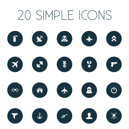 Elements Handgun, Sky Force, Pursuit Plane Synonyms Insignia, Zoom And Switch.  Vector Illustration Set Of Simple Battle Icons.