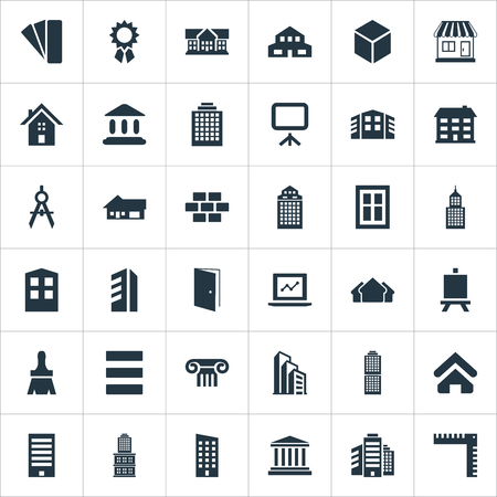 Vector Illustration Set Of Simple Architecture Icons. Elements Construction, Length, Painting Board And Other Synonyms University, Apartment And Laptop. Ilustrace