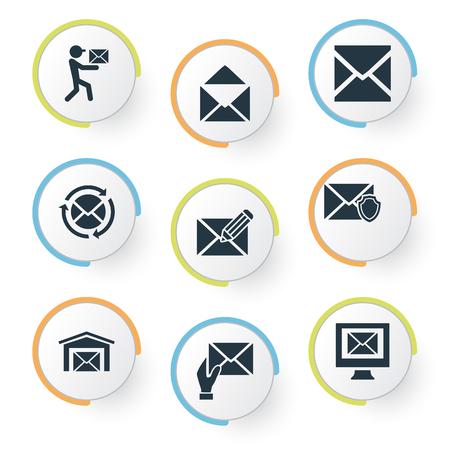 Vector illustratie Set van eenvoudige mailing iconen. Elementenontvanger, schrijven, inbox en andere beschermde synoniemen, Office en inbox.
