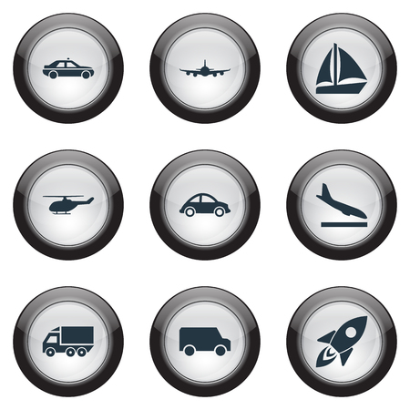 Vector Illustration Set Of Simple Transport Icons. Elements Spaceship, Air Logistics, Aerocab And Other Synonyms Coupe, Truck And Boat.