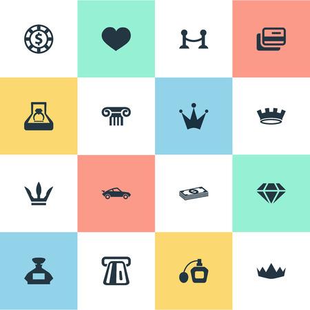 벡터 일러스트 레이 션 간단한 럭셔리 아이콘 집합입니다. 요소 크라운, 울타리, 칩 및 다른 동의어 울타리, 골동품 및 동전.