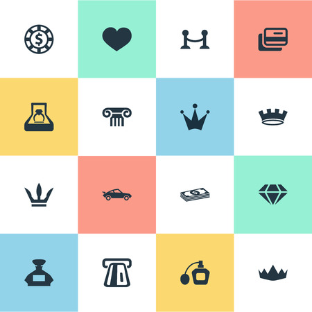 Vektor-Illustration Satz einfache Luxusikonen. Elemente Krone, Zaun, Chip und andere Synonyme Zaun, Antiquitäten und Münzen. Standard-Bild - 85460145