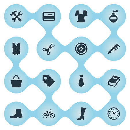 Vector Illustration Set Of Simple Equipment Icons. Elements Label, Fragrance, Garment And Other Synonyms Price, Book And Shears. Illustration