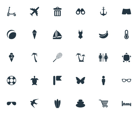 Vector Illustration Set Of Simple Seaside Icons. Elements Airplane, Cycle, Beach Games And Other Synonyms Monarch, Gentleman And Rocket.