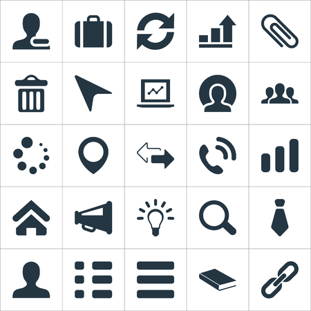 Vector Illustration Set Of Simple Team Icons. Elements Pointer, Rubbish Can, Togetherness And Other Synonyms Connection, Stationary And Book.