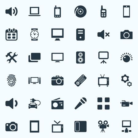 요소 사운드, 볼륨, 카메라 및 기타 동의어 노트북, 서버 및 디스플레이입니다. 벡터 일러스트 레이 션 간단한 장치 아이콘의 집합입니다.