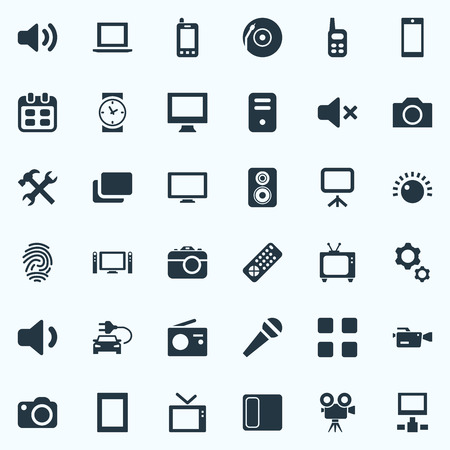Elements Sound, Volume, Camera And Other Synonyms Notebook, Server And Display.  Vector Illustration Set Of Simple Device Icons. 版權商用圖片 - 85421857