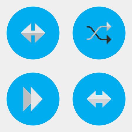 Vector Illustration Set Of Simple Arrows Icons. Elements Indicator, Forward, Chaotically And Other Synonyms Alert, Import And Next.