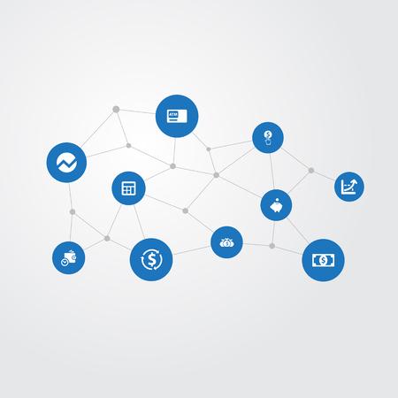 Illustrazione vettoriale Set di icone di valuta semplice. Elementi Aumentano Grafico, Bancomat, Statistica e Altri sinonimi Maiale, Calcolatrice E Contabilità.