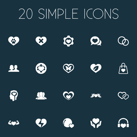 Vector Illustration Set Of Simple Valentine Icons. Elements Package, Moth, Hearts And Other Synonyms Gear, World And Shopping.