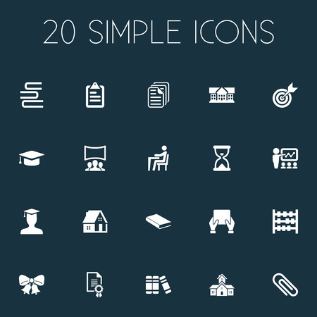 Vector illustration set of simple school icons. Elements home, property, test and other synonyms educationalist, math and building. Illustration