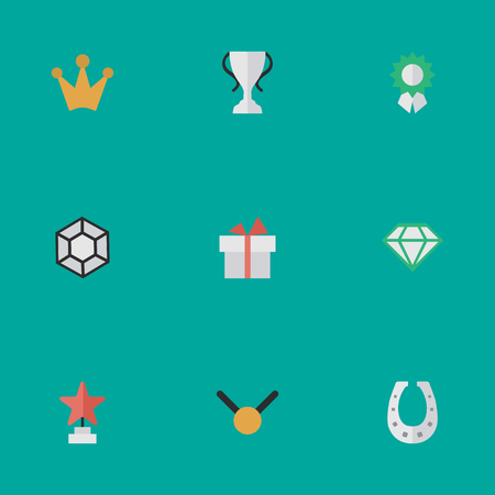 Vector Illustration Set Of Simple Awards Icons. Elements Corona, Gemstone, Reward And Other Synonyms Precious, Medal And Corona.