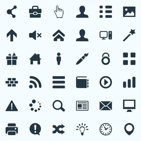 Vector Illustration Set Of Simple Interface Icons. Elements Randomize, Idea, House Synonyms Attention, Personal And Button.