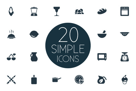 Vector Illustration Set Of Simple Cuisine Icons. Elements Measure, Bbq, Vase And Other Synonyms Bbq, Pizzeria And Corn. Ilustração
