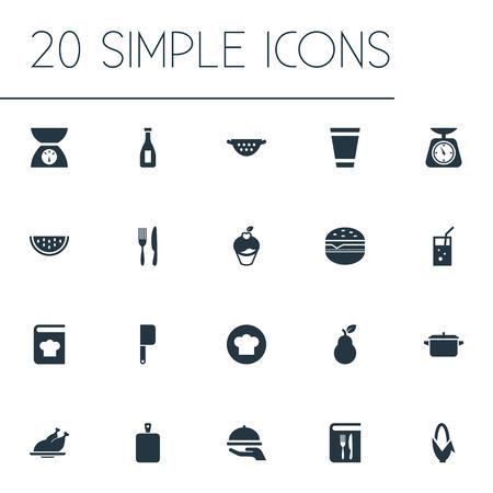シンプルなフードアイコンのベクトルイラストセット。要素は、スケール、ディナー、木をチョッピングし、他の同義語フルーツライザー、計量と