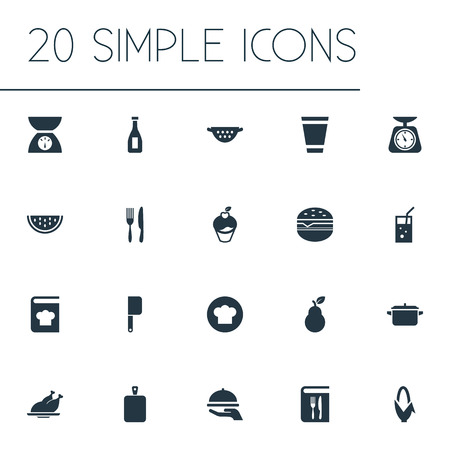 Vector illustration set of simple food icons. Elements scales, dinner, chopping wood and other synonyms rinser, weighing and dinner.