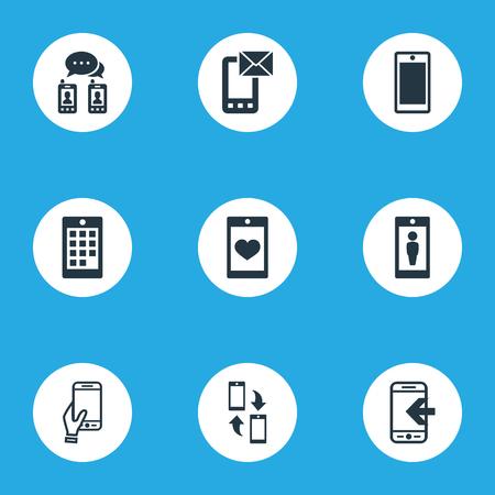 Vector Illustration Set Of Simple Smartphone Icons. Elements Screen, Numbers, Touchscreen And Other Synonyms Call, Smartphone And Synchronization.