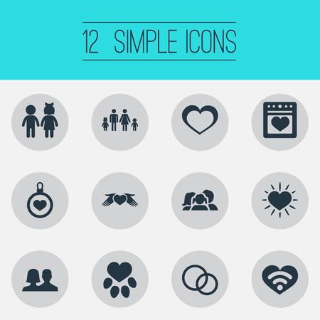 벡터 그림 간단한 감정 아이콘의 집합입니다. 요소 스토브, 보호, 밝고 다른 동의어 장식, 가족 및 부모.