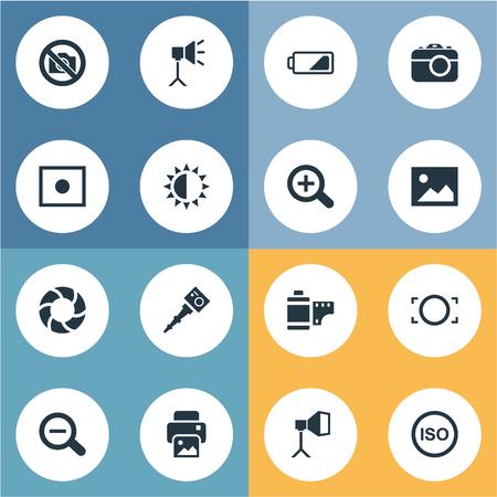 シンプルな写真のアイコンのベクトルイラストセット。要素拡大、禁止カメラ、写真やその他の同義語照度、拡大と輝き。