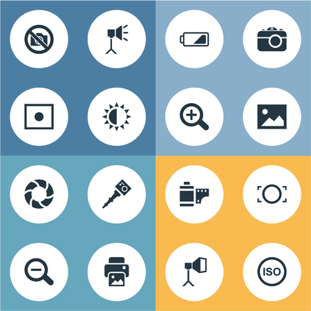 Vector Illustration Set Of Simple Photograph Icons. Elements Magnifying, Prohibited Camera, Photograph And Other Synonyms Illuminance, Magnifying And Brilliance.