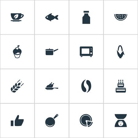 シンプルなキッチンアイコンのベクトルイラストセット。要素オーブン、カフェイン、ハーブドリンク、その他の同義語フライ、トウモロコシ。  イラスト・ベクター素材