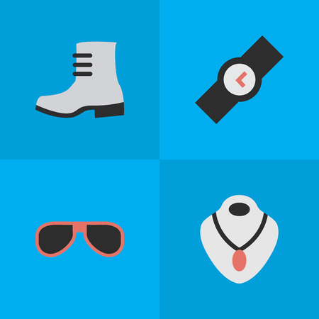 Vector Illustration Set Of Simple Instrument Icons. Elements Boot, Jewelry, Wristwatch And Other Synonyms Boot, Wristwatch And Sunglasses. Illustration