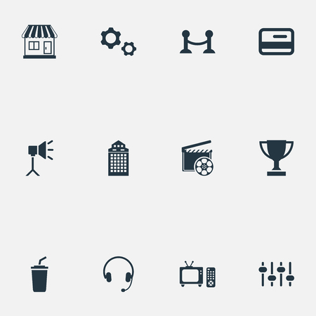 Elements soda, member access, rope barrier and other synonyms building, drink and controller.  Vector illustration set of simple movie icons. Illustration