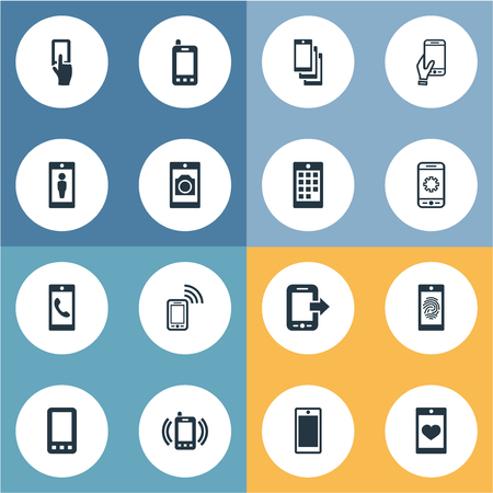 Vector Illustration Set Of Simple  Icons. Elements Soul On Phone, Settings, Screen And Other Synonyms User, Video And Wifi. Ilustrace