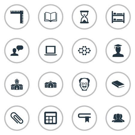 Vector Illustration Set Of Simple Education Icons. Elements Books, School, Adding Machine And Other Synonyms Structure, Scientist And Learning.